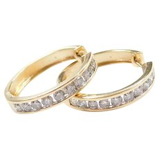 2.00 ctw Diamond Hoop Earrings 14k Yellow Gold