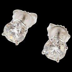 2.00 ctw Diamond Stud Earrings 18k White Gold