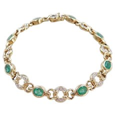 "Vintage 14k Gold 2.00 ctw Natural Emerald and Diamond Bracelet ~ Two-Tone ~ 6 3/4"""