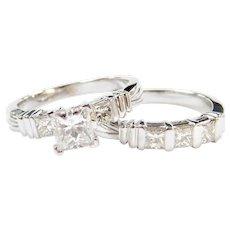 2.02 ctw Princess Cut Diamond Engagement Ring and Wedding Band