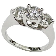 Vintage 14k White Gold 2.04 ctw Fancy Diamond Ring