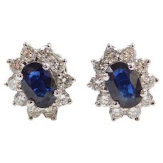 18k White Gold 2.10 ctw Natural Sapphire and Diamond Halo Stud Earrings