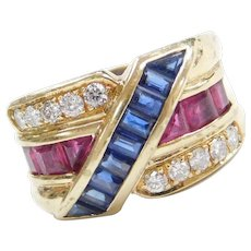 Vintage 14k Gold 2.11 ctw Sapphire, Ruby and Diamond Ring