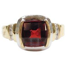 2.12 ctw Garnet and Diamond Ring Two-Tone 14k Gold