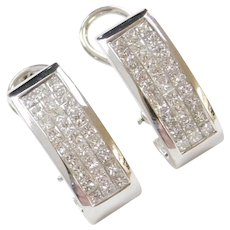 14k White Gold 2.16 ctw Diamond Earrings