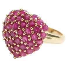 14k Gold 2.16 ctw Natural Ruby Pave Heart Ring