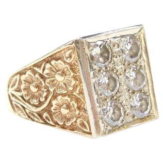 BIG 2.17 ctw Diamond Men's Ring with Floral Detail 14k Yellow and White Gold