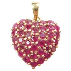 14k Gold 2.20 ctw Natural Ruby Pave Heart Pendant