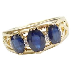 2.21 ctw Natural Sapphire and Diamond Ring 14k Gold Two-Tone