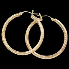 Vintage 10k Gold Hoop Earrings with Diamond Cut and Textured Detail