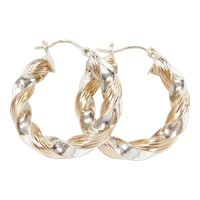 Vintage 14k Gold Two-Tone Twisted Hoop Earrings