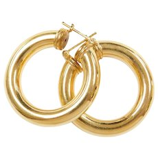Vintage 14k Gold Wide Hoop Earrings