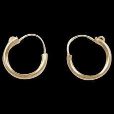 Vintage 14k Gold Small Baby / Childs Hoop Earrings