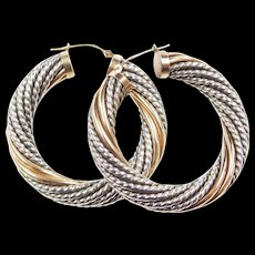 Vintage Sterling Silver and 14k Gold Twisted Hoop Earrings ~ Two-Tone