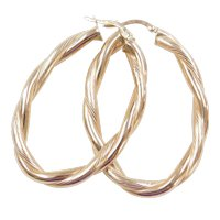 Vintage 14k Gold Twisted Hoop Earrings