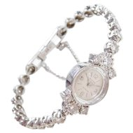 Vintage 14k White Gold Ladies 2.25 ctw Diamond Watch ~ Eloga Swiss