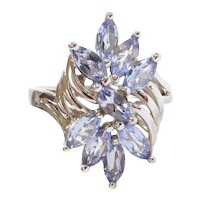 2.25 ctw Natural Tanzanite Winged Cluster Ring 14k White Gold