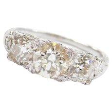 Art Deco 18k White Gold 2.28 ctw Diamond Three Stone Engagement Ring