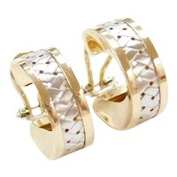 Vintage 14k Gold Two-Tone Woven Hoop Earrings with Omega Backs