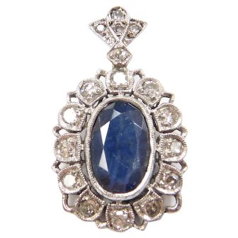 Edwardian 2.31 ctw Natural Sapphire and Diamond Halo Pendant 18k White Gold