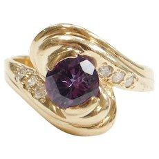 Vintage Lab Alexandrite & Diamond 2.33 ctw Ring 14K Gold