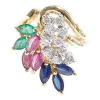 2.37 ctw Ruby, Emerald, Sapphire and Diamond Leaf Cluster Ring 14k Gold