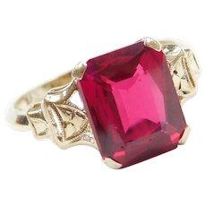 Art Deco 2.40 Carat Created Ruby Ring 14k Yellow Gold