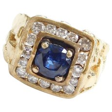 Men's 14k Gold 2.44 ctw Sapphire and Diamond Nugget Ring