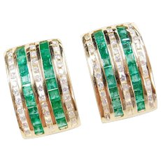 2.46 ctw Natural Emerald and Diamond Earrings 14k Gold Omega Backs