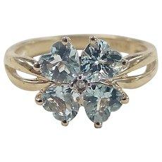 Vintage 14k Gold 2.50 ctw Aquamarine and Diamond Clover Ring