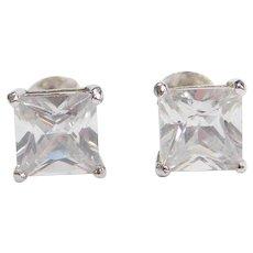 Sterling Silver 2.50 ctw Faux Diamond Stud Earrings