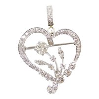 2.50 ctw Diamond Heart Pendant Platinum / Pin / Brooch