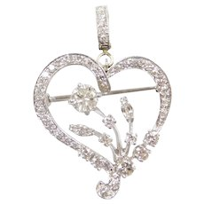 2.50 ctw Diamond Heart Pendant Platinum / Pin / Brooch