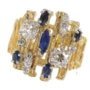 2.52 ctw Diamond and Sapphire 18k Gold Wide Ring