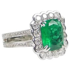 Stunning GIA 2.52 Carat Natural Zambia Emerald Scalloped Halo Engagement Ring with 1.24 ctw Diamonds ~ 3.76 ctw