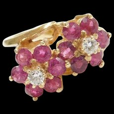 Vintage 14k Gold 2.54 ctw Natural Ruby and Diamond Bypass Flower Ring