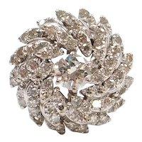 2.56 ctw Diamond Cluster Cocktail Ring 14k White Gold