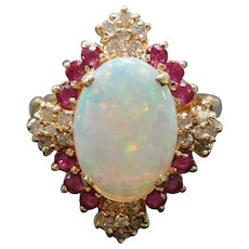 2.57 ctw Confetti Opal, Ruby and Diamond Ring with Arthritic Shank 14k Yellow Gold