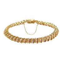 "6 5/8"" 14k Gold 2.64 ctw Diamond S-Link Tennis Line Bracelet"