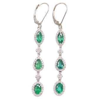 Stunning 14k White Gold 2.64 ctw Natural Emerald and Diamond Halo Long Earrings