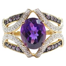 2.72 ctw Amethyst, White and Purple Diamond Ring 10k Gold Two-Tone