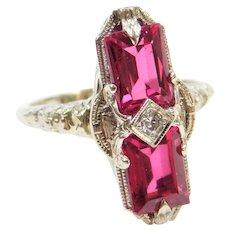 Art Deco Lab-Grown Ruby and Diamond Elongated Filigree Ring 14k White Gold