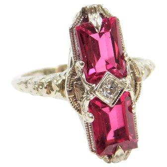 Art Deco Lab-Grown Ruby and Diamond Elongated Filigree Ring 14k White Gold