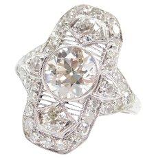 2.74 ctw Diamond All Original Art Deco Elongated Dinner Ring Platinum