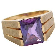 2.95 Carat Color Changing Created Alexandrite Ring 14k Gold