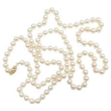 "31"" Long Cultured Pearl Strand 14k Gold Filigree Clasp"
