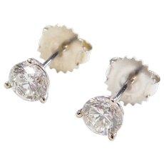 GIA Certified 1.10 ctw Diamond Stud Earrings 14k White Gold