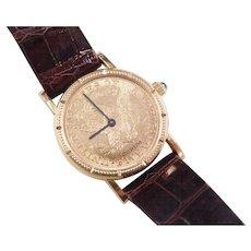 Ladies 1881 24mm Corum 18k Coin Watch $5 Gold Liberty 100% Original Mechanical