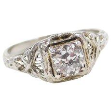 1920's Art Deco 18k White Gold .60 Carat Diamond Engagement Ring