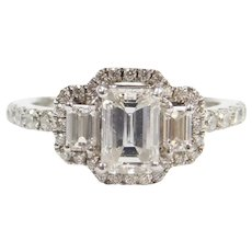 GIA Certified 1.61 ctw Emerald Cut Diamond Halo Engagement Ring 14k White Gold